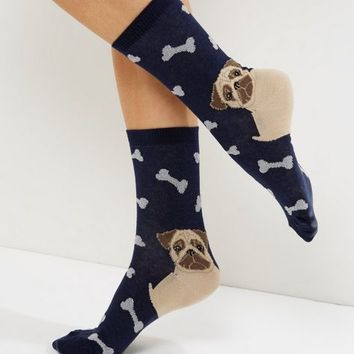 Navy Pug And Bone Socks