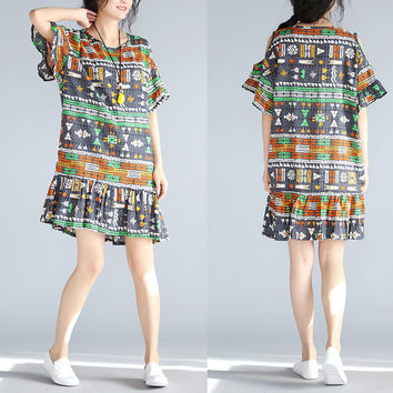 Plus Size Women Dress Summer Vintage Pattern Print Female Large Size Loose Chiffon Fashion Off Shoulder O-Neck Midi New Dresses