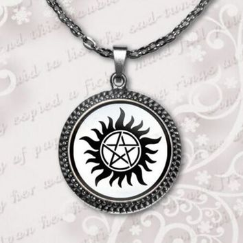 Dean Winchester Supernatural Necklace Jewelry Quote Necklace Glass round cabochon Pendant Necklace new  sale  A-057 HZ1