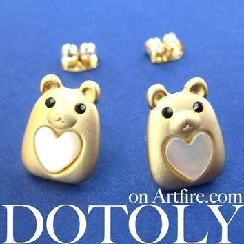 Teddy Bear Animal Stud Earrings in Gold with Hearts | ALLERGY FREE