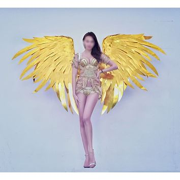 Luxury Gold Cloth Angel Wings Cosplay Party Stage Show Wedding
