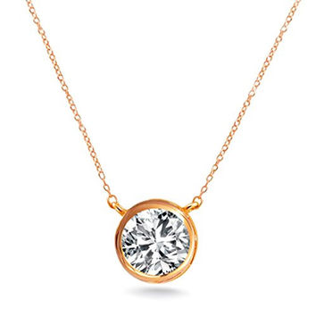 "Silver Solitaire Pendant Necklace .925 Sterling Silver Rose Gold Tone Round 7mm Bezel 16"" - 18"" GIFT Box"