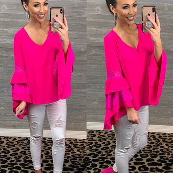 Hot Pink Lace Bell Sleeve Top