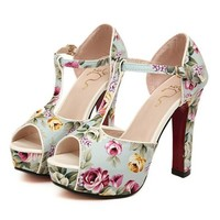 MagicPieces Women's T Bar Floral Print Strap Peep Toe Heeled Sandals 040746 ADP 0705 Color Blue US 5