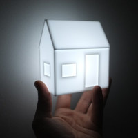 Lighted acrylic house - minimal glowing structure - modern geometric nightlight house - moonlight - bright white LED architecture