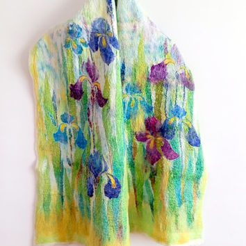 Silk scarf handpainted Nuno felted wool scarf Hand painted silk Blue irises Wedding wrap Silk evening shawl Flowers shawl Wedding Gift f her