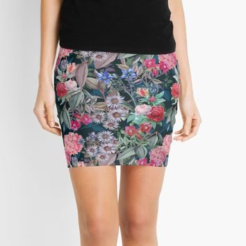 'Floral on Dark Background' Mini Skirt by RoxanneG