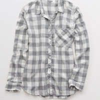 Aerie Plaid Shirt, Glacier Gray