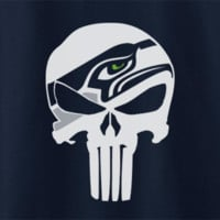 Custom Seattle Seahawks Punisher Theme Tee T-Shirt Tshirt