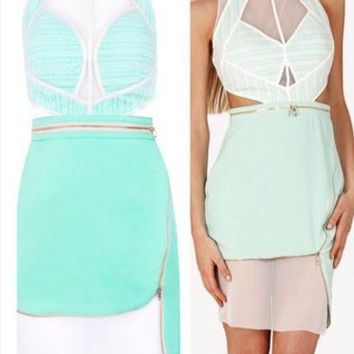 CUTE MINT GREEN FASHION DESIGN DRESS