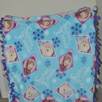 FROZEN Anna Elsa Frozen Blanket, Double Layered Hand Tied Blanket Soft Fleece baby blanket.  Kids blanket, Ready to ship.