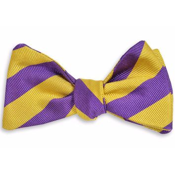 All American Stripe Bow Tie in Purple and Gold by High Cotton