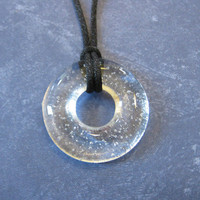 Transparent Necklace, Fused Glass Jewelry, Circle - 4