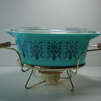 Vintage Rare Pyrex SAXONY Tree Of Life 475-b 2.5 Quart Casserole With Lid And Warmer