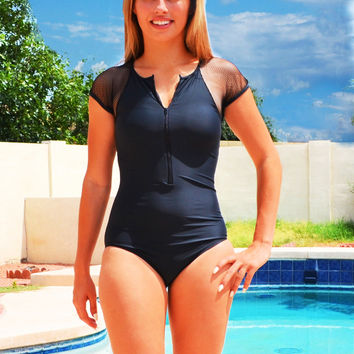 Me-Ron Black One Piece Rash Guard Swimwear