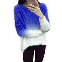 Casual Loose Autumn Winter Women Long Sleeve O-neck Knitwear Pullovers Sexy Female Slim Gradient Color Sweater Jumper Poncho