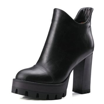 Women Fashion Punk Square High Heel Ankle Round Toe Women Platform Boots