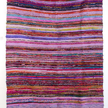 Handwoven Rag Rug, Indian Rug, Indian Carpet, Chindi Rug, Rag Rug, Recycled Rug, Hand Woven Rag Rug, Purple Rug