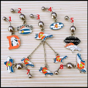 Denver Broncos Custom Mix Navel Piercing 316L Stainless Steel Belly Ring Body Jewelry Navel Belly Piercing