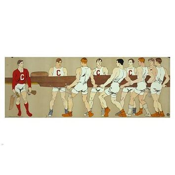 cornell crew team holding a boat EDWARD PENFIELD vintage poster 24X36 BUFF