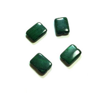 Genuine Malachite  Gemstone  Beads ,  Malachite  Rectangle Beads , 16 X 14MM  , 4 Pcs