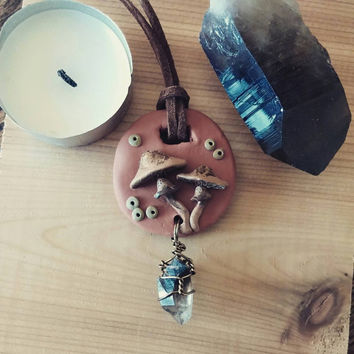 Grounding Mushroom Talisman smokey smoky quartz point fungi nature woodland pendant necklace