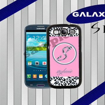 Galaxy S3 Case - Pink and White Leopard Personalized Case