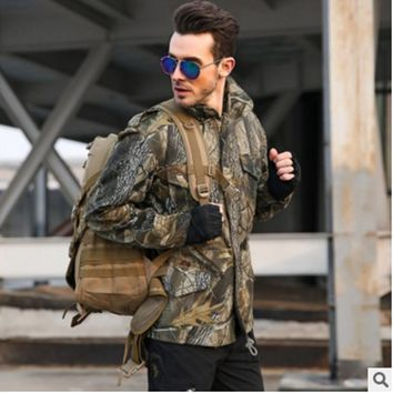 Winter Outdoor Hiking Camping Single Windbreaker Men's Military Tactical Bionic Camouflage Jacket Without Detachable Inner Coat