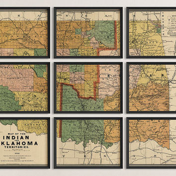 Antique Map of Oklahoma (1892) by Rand McNally and Co. - Set of 9 Prints - Archival Reproduction