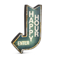 "LED Happy Hour Arrow Sign 16""H"
