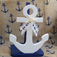 Anchor Paper Towel Holder-Nautical Kitchen-Nautical Bathroom-Navy Blue Anchors-Wooden Navy Nautical-Nautical Gifts-Sea & Beach