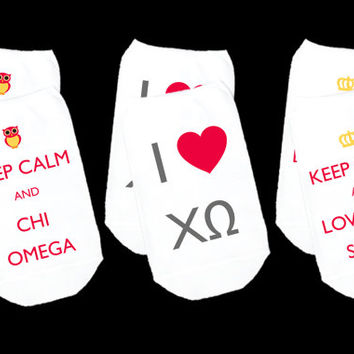 Keep Calm Printed Sorority Socks 3 Pair Set
