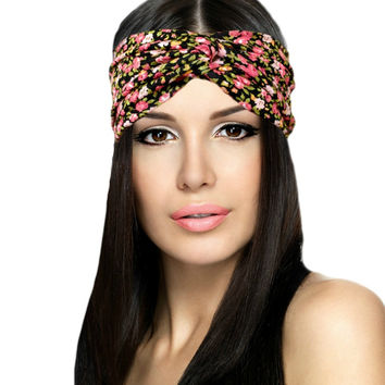 Pink Floral Classic Chic Turban Headband {Wanderlust Collection}