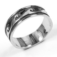 Waves Band Stainless Steel Ring