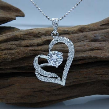 Fashion Heart Necklace (Color: Silver) = 1946695620