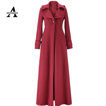 Floor Length Coat Women New 2016 Spring Jackets And Coats Extra Long Thin Wool Cashmere Coat Manteau Femme Windbreaker  W023