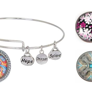 Expandable Bangle Bracelet Snap Charm Holder Includes Charm