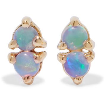 Wwake - Two Step 14-karat gold opal earrings