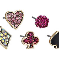 Betsey Johnson Casino Royale Earrings Pink/Crystal 3 - Zappos.com Free Shipping BOTH Ways