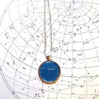 Perseus, Constellation Necklace, Vintage Astronomy, Astronomy Necklace, Zodiac, Constellations, Blue and Silver, Percy Jackson