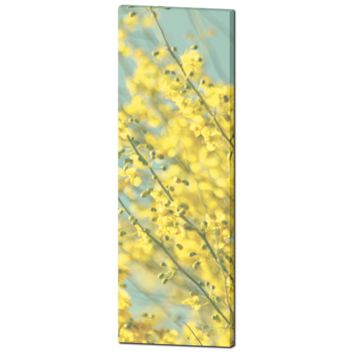 Yellow Blue Canvas - Abstract Floral Canvas - Large Flower Canvas - Tall Yellow Canvas - Large Canvas - Cottage Chic Art - 20 x 60 Canvas