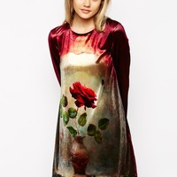 Little White Lies Velvet Dress With Rose Print