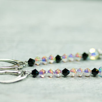 Long Crystal Earrings, Dangle Earrings, Wedding Swarovski Jewelry, Minimalist Earrings, Bridal Jewelry, Black and White Elegant Earrings