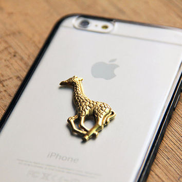 Gold iPhone 6 Case with 24kt Gold Giraffe Embellishment laid on Protective Bumper Cell Phone Case with Clear Back Cover, Tough Animal Case