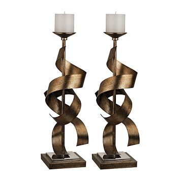 112-1148/S2 Set Of 2 Metal Sculpture Candle Holders - Free Shipping!