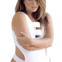 Plus Size Bandage Cut Out One-Piece Swimsuit in White