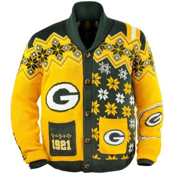 Green Bay Packers Ugly Sweater Cardigan From Fanatics Alex