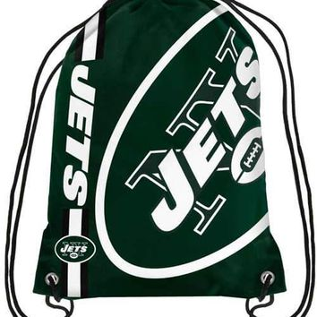 New York Jets Polyester Men Drawstring Backpack Buggy Bags Custom Image Digital Printing Pouch 35*45CM Sports Fan Flag