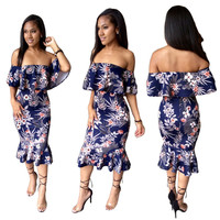 Royal Blue Floral Ruffle Off the Shoulder Party Dress