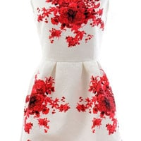 Floral Jacquard Sleeveless Mini Dress